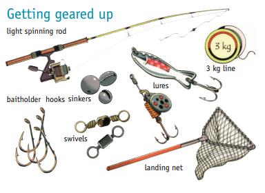 Standard redfin perch fishing equipment